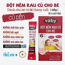 Bột nêm Củ Dền & Phô mai dành cho bé ăn dặm VABY Hộp 48g (6 gói x 8g) - Gia vị nêm và rắc dành cho bé từ 6 tháng tuổi