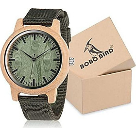 BOBO BIRD Unisex Bamboo Wooden Watch for Men and Women Analog Quartz Lightweight Handmade Casual Watches with Green Nylon Strap