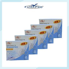 [[ Xuất Khẩu Mỹ ]] - COMBO 5 TÚI / HỘP - Khẩu Trang Y Tế Cao Cấp FAMAPRO - 4 Lớp Kháng Khuẩn / 95% Lọc Khuẩn, Bụi, Virus Tốt Nhất / Người Lớn - [ CB5 - PM2.5 - TÚI / HỘP ]