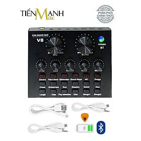 Sound Card Thu Âm Thanh, Livestream, Hát Karaoke Cuvave V8 - Bluetooth, Pin Sạc USB Audio Interface Soundcard V-8 Hàng Chính Hãng - Kèm Móng Gẩy DreamMaker