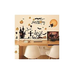 Miếng dán tường, dán cửa kính Halloween hình phù thủy, mèo đen, bí ngô và dơi đen