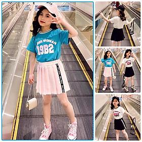 BV55Size110-160 (12-45kg)Bộ sơ mi cho bé gái, kiểu dáng Hàn QuốcThời trang trẻ Em hàng quảng châu