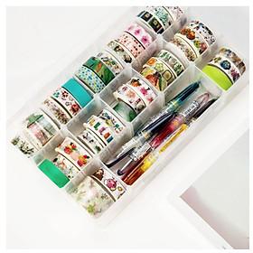 Hộp Nhựa 15 Ô Đựng Cuộn Băng Dính Washi Tape, Stickers, Hình Dán,... Trong Suốt Siêu Tiện Lợi, Gọn Gàng