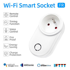 Tuya Smart WiFi Socket FR Remote Control by Smart Phone from Anywhere Timing Function, Voice Control for Amazon Alexa