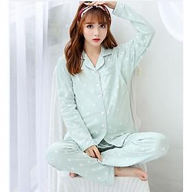 Bộ Pyjama Bầu Và Sau Sinh Dài Tay AZ8182 Chất Liệu Cotton Có Thiết Kế Mở 2 Bên Ngực Cho Con Bú Tiện Lợi