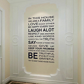 Removable In This House Quote Wall Sticker for Home Art Decor