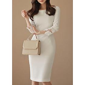 Váy trắng cổ thuyền 3/4 tay váy midi