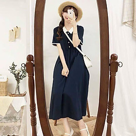 Đầm nữ tiểu thư với thiết kế tay ngắn cổ áo tai bèo viền trắng