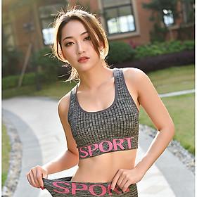Bộ Đồ Tập Gym Yoga Nữ Họa Tiết Chữ Sport Cao Cấp SP02