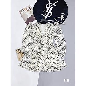 Jum Hoa Nhí Thiết Kế, Jum xòe hoa nhí cổ V sang chảnh, váy 2 lớp chất von tơ - H&N Store