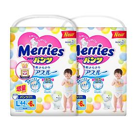Combo 2 Tã/bỉm quần Merries size L - 44 + 6 miếng (Cho bé 9 - 14kg)