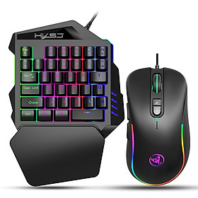 HXSJ J300+V100 Keyboard and Mouse Combo RGB Lighting Programmable Gaming Mouse+One-handed Game Keyboard with Adjustable