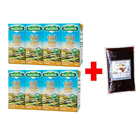 COMBO 8 HỘP SỮA TƯƠI ĐƯỜNG ĐEN TIỆT TRÙNG 100 ĐIỂM NUTIMILK 180ML + 1 BỊCH TRÂN CHÂU ĐƯỜNG ĐEN 300G NT02TI NUTIFOOD