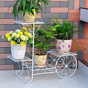COMBO Kệ Sắt Để Chậu Hoa Cây Cảnh Hình Bánh xe ( 4 chậu ) + Xẻng Làm Vườn - TẶNG 100 HẠT GIỐNG HOA MƯỜI GIỜ