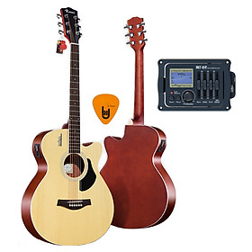 [Gắn EQ] Đàn Guitar Acoustic Rosen G12 Màu Gỗ Dáng A và EQ Mings AGA MET-B12 (Đàn đã gắn sẵn EQ) - Phân Phối Chính Hãng - Kèm Móng Gảy DreamMaker