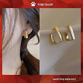 Khuyên tai nữ vuông bông tai nữ mạ màu vàng cỡ nhỏ TB226 - TOBI'SHOP