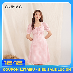 Đầm váy nữ  DA1002 GUMAC thiết kế  caro rút ngực