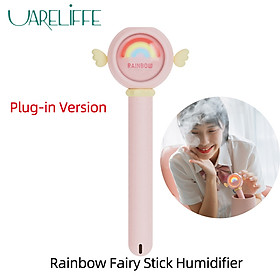 Uareliffe Rainbow Humidifier Stick Double Atmosphere Light Design Portable Mini Air Humidifier With LED Nightlight Mist Maker Water Atomizer Mute Air Purifier For Home Office Car Use