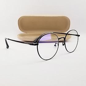 Gọng kính nam nữ tròn màu đen, bạc, vàng hồng chất liệu kim loại SA29203. Tròng kính giả cận 0 độ chống ánh sáng xanh, chống tia UV