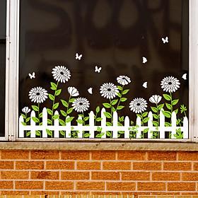 Decal dán tường dán kính hoa mặt trời trắng SK7189ds