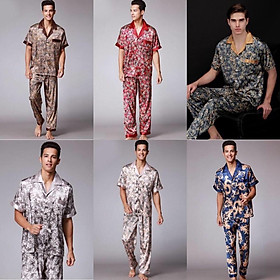 Đồ bộ Pijama nam cộc tay chất vải lụa satin cao cấp, nhẹ tênh, mềm mại, mặc cực kỳ dễ chịu, thư giãn, size L-3XL