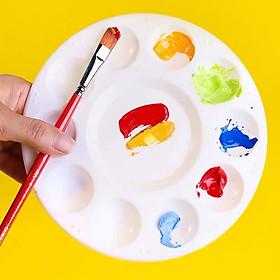 Khay pha màu Palette màu họa cụ vẽ nhựa tròn 10 rãnh chuyên dụng cho màu nước Acrylic đường kính 17cm
