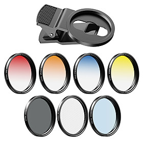 Bộ len APEXEL APL-52UV-7G 7 trong 1 hỗ trợ len 52mm ND32 len lọc màu CPL len 6 điểm sao 52mm màu đỏ/ xanh/ vàng