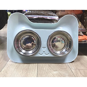 Bát ăn đôi chống kiến khay nhựa hình mặt mèo kèm bát inox