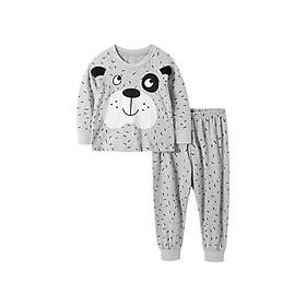 Bộ đồ thun cotton dài tay cho bé trai gấu xám cực dễ thương 2-7T