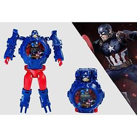 Đồng hồ robot biến hình-Đồng hồ siêu nhân dành cho Bé Trai/ Bé Gái - Captain America