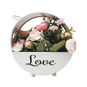 Giỏ hoa kim loại kèm hoa vải trang trí treo tường / để bàn phong cách vintage