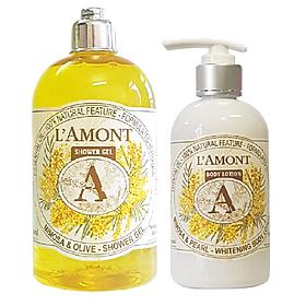 Combo Sữa Tắm L'amont En Provence Mimosa (500ml) và Sữa Dưỡng Thể L'amont En Provence Mimosa Whitening Body Lotion (250ml)
