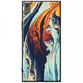 Ốp lưng dành cho Sony Xperia XA1 Plus mẫu Vệt sóng xanh cam