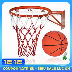 Vành bóng rổ 30cm + quả bóng rổ caosu số 3 có tặng kèm kim bơm và lưới đựng bóng