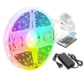 Bộ đèn Led dây dán RGB đổi màu 5M/ 10M/ 15M điểu khiển từ xa chọn màu đứng yên, nhấp nháy, bóng 5050, 2835 strip light trang trí quay Tiktok dán tường, bàn máy tính, chống nước bền đẹp- Chính hãng DEHA