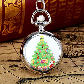 Santa Claus Pocket Watch Quartz Jewelry Pendant Christmas Gift Decoration Silver