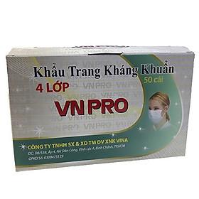 Bộ 3 hộp Khẩu trang y tế 4 lớp vải lọc VN Pro màu xanh (Hộp 50 cái)