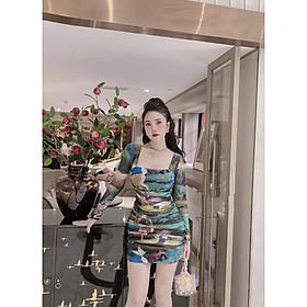 Đầm hoạ tiết in 3D