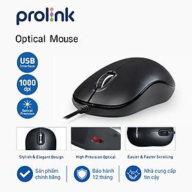 Chuột có dây PROLiNK PMC1005 BGLD cảm biến quang học 1000DPI- Hàng chính hãng