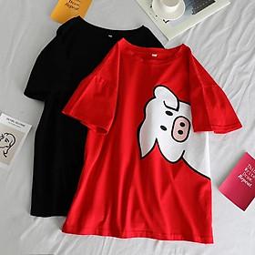 Áo thun oversize nam nữ Heo Pig cute chất liệu vải tốt cotton M L XL màu đỏ và đen Trumunisex