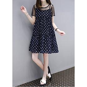 Đầm suông nữ xếp từng phối ren form rộng đủ size AH10