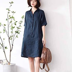 Đầm s;uông linen cổ đức trẻ trung không kén dáng mặc, chất vải linen mềm mát, thời trang xuân hè 2021