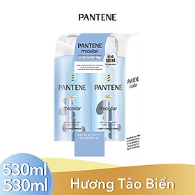 Bộ Đôi Pantene Micellar Hương Tảo Biển (Dầu Gội 530ml + Kem Xả 530ml)
