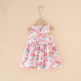 Váy, đầm bé gái mùa hè chất cotton thoáng mát nhiều hoạt tiết dễ thương QATE08