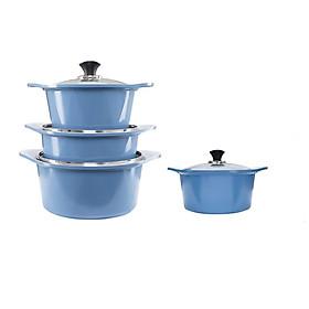 Bộ 4 nồi đúc ceramic cao cấp: nồi 2 tay cầm 18-20-22-24cm tặng 1 cặp nhấc nồi sillicon (màu ngẫu nhiên)