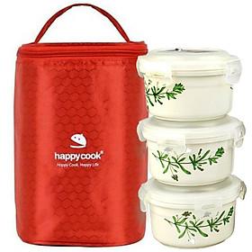 Hộp Đựng Cơm Cà Men Giữ Nhiệt 3 Tầng Happy Cook Chất Liệu Gốm Sứ Chịu Nhiệt 1400 Độ C Tặng Túi Đựng Giữ Nhiệt Cao Cấp -Hàng Chính Hãng