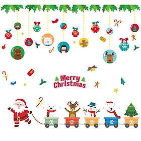 Cartoon Christmas Window Stickers DIY Winter Wall Stickers Kids Room Christmas Decorations for Home New Year Stickers