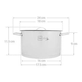 Nồi inox 304 Fivestar 3 đáy - quai oval - nắp inox - sử dụng bếp từ ( 16cm / 20cm / 24cm )