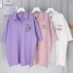 Áo thun POLO nữ tay lỡ có cổ phông form rộng freesize unisex mặc đi học, cặp, nhóm, lớp in hình DỄ THƯƠNG