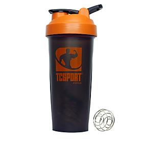 Bình lắc Shaker pha sữa cho người tập GYM hiệu TCSPORTFOOD - Bình nước thể thao Shaker 600 ml - Bình đen nắp cam
